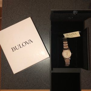 Diamond Bulova watch silver